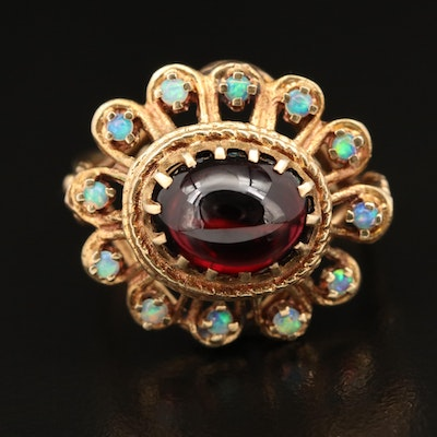 Vintage 14K Garnet Cabochon and Opal Ring