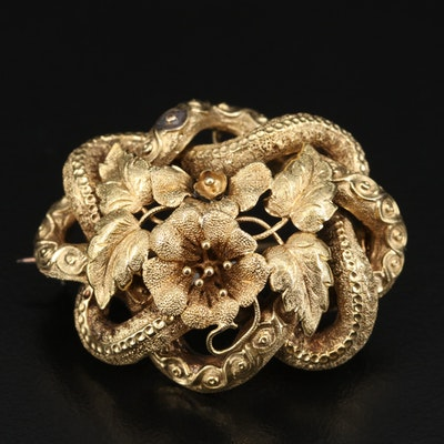 Victorian 14K Floral Love Knot Brooch with Watch Hook