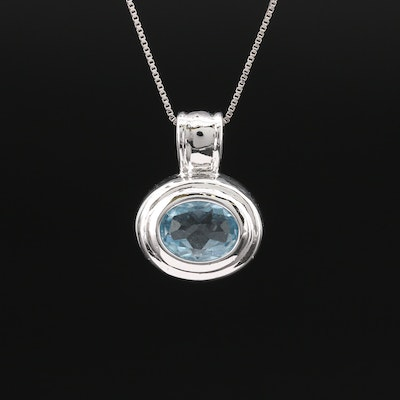 Sterling Topaz Pendant on 14K Box Chain