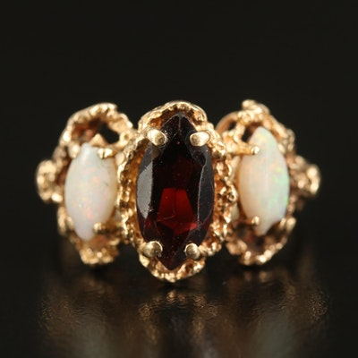14K Garnet and Opal Three Stone Ring