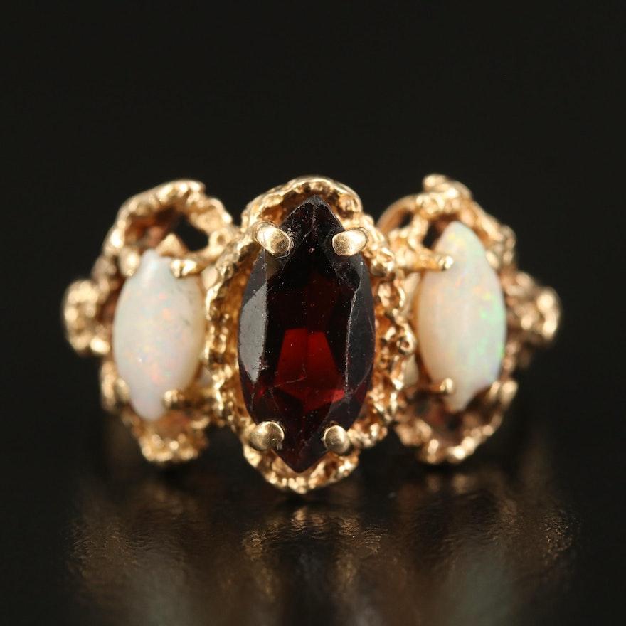 14K Garnet and Opal Three Stone Ring