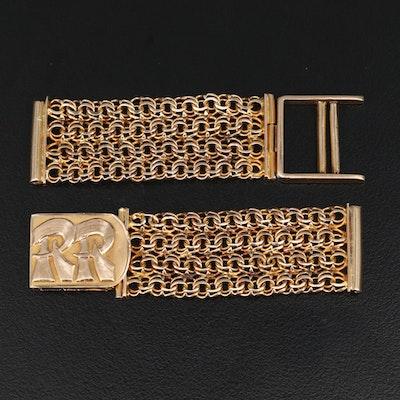 14K Fancy Link Watch Band