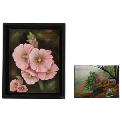 Floral and Mountain Landscape Acrylic Paintings