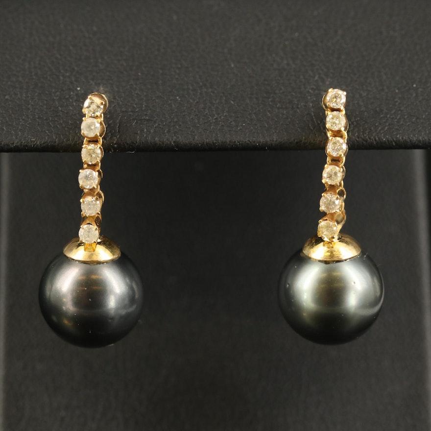 14K Pearl and Diamond Drop Earring