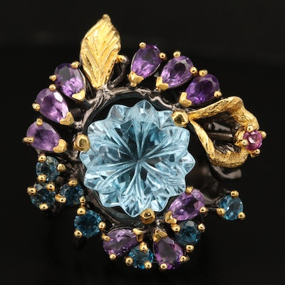 Sterling Topaz, Amethyst, and Garnet Floral Ring