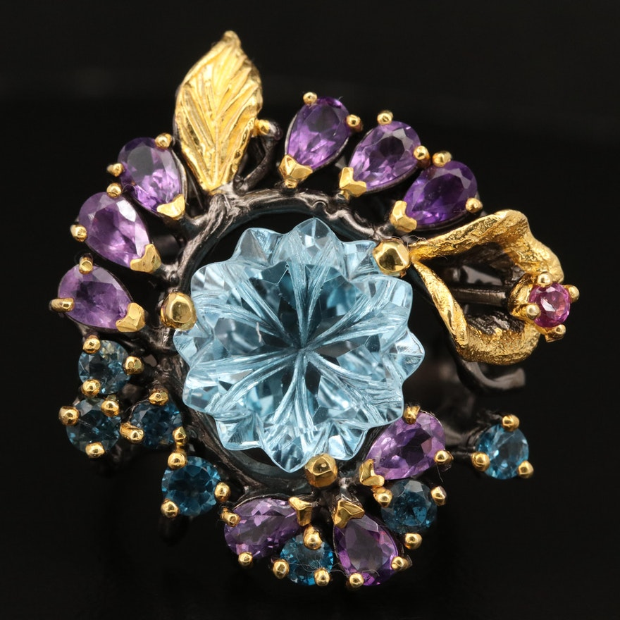 Sterling Topaz, Amethyst, and Garnet Floral Ring