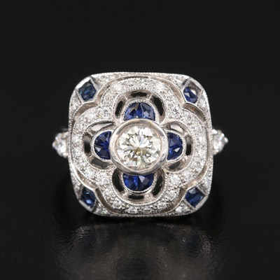 Art Deco Style 18K 1.02 CTW Diamond and Sapphire Ring