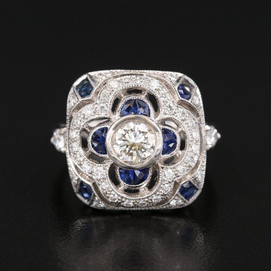 Art Deco Style 18K 1.02 CTW Diamond and Sapphire Ring
