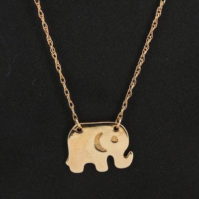 14K Elephant Necklace