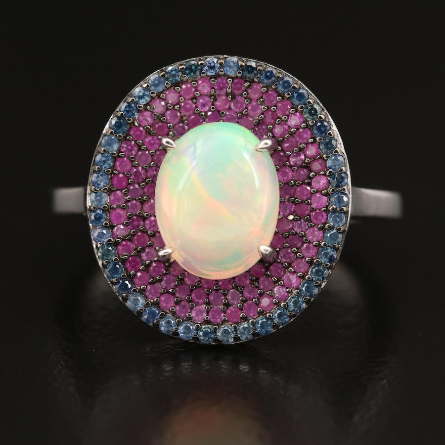 Sterling Opal with Ruby and Sapphire Triple Halo Ring