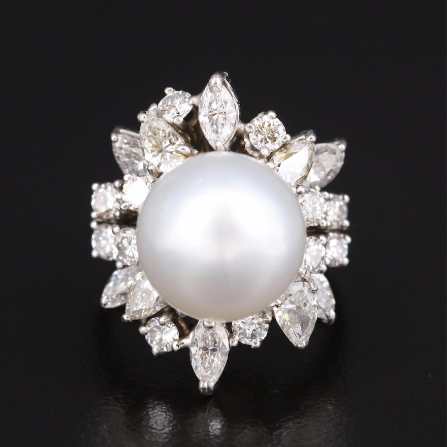14K Pearl and 2.21 CTW Diamond Ring
