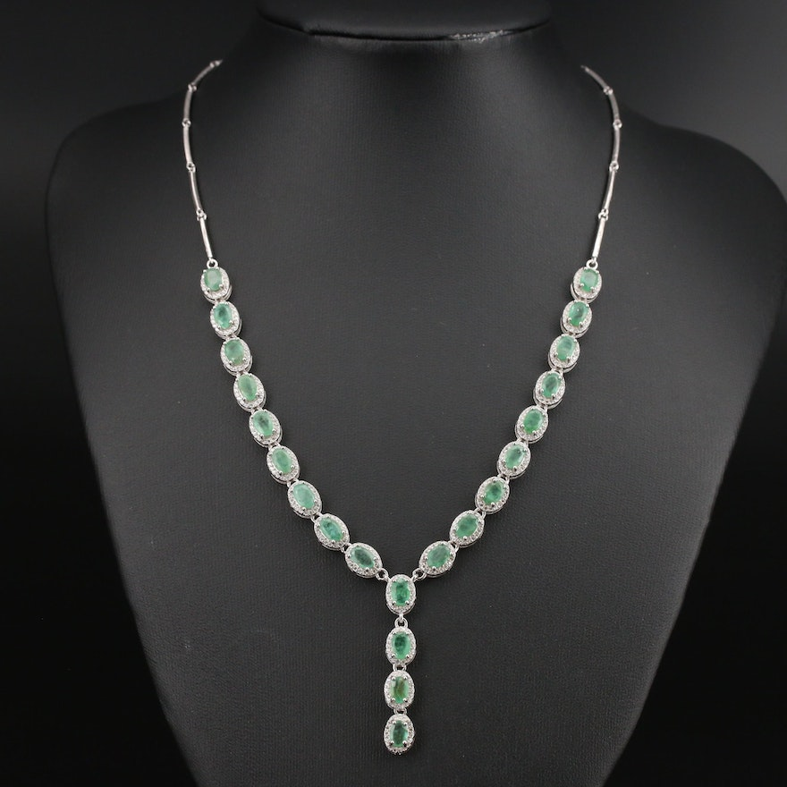 Sterling Emerald and Cubic Zirconia Line Drop Necklace