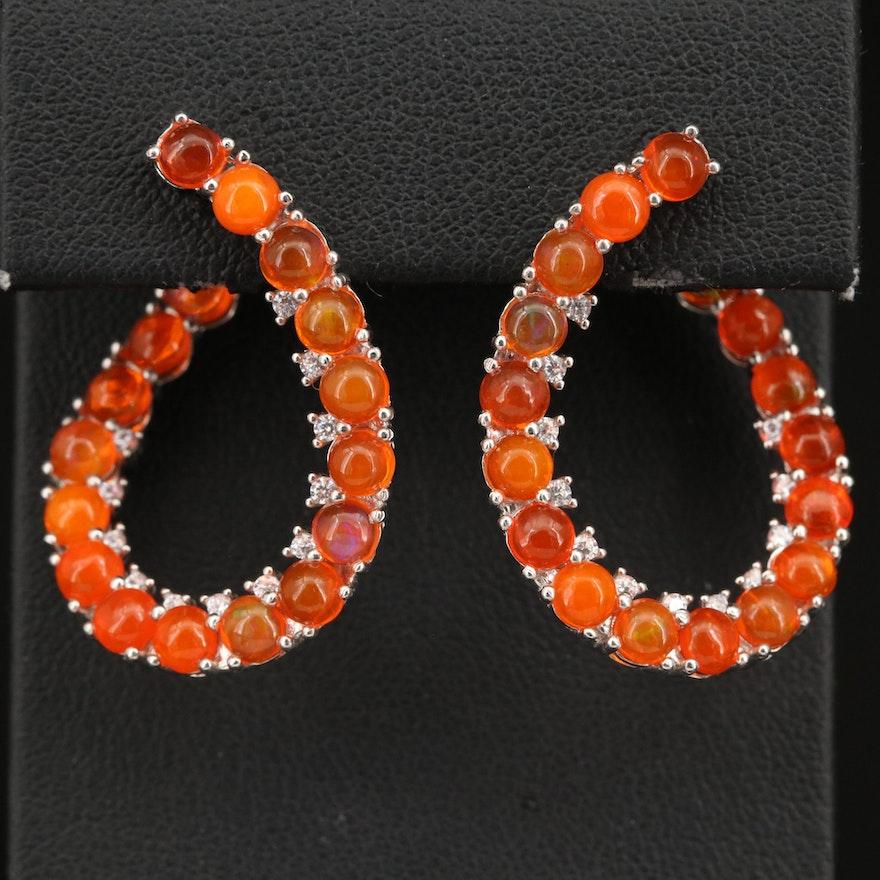 Sterling Silver Opal and Cubic Zirconia Loop Earrings