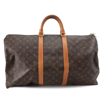 Louis Vuitton Keepall 55 Bag in Monogram Canvas and Vachetta Leather