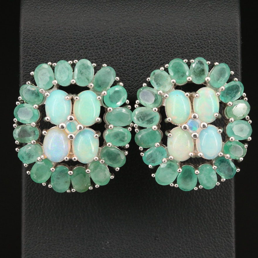 Sterling Opal and Emerald Halo Earrings