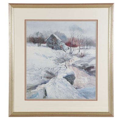 Nathalie Nordstrand Winter Scene Offset Lithograph