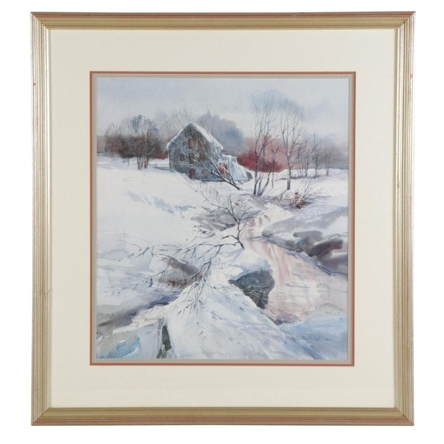 Nathalie Nordstrand Winter Scene Offset Lithograph