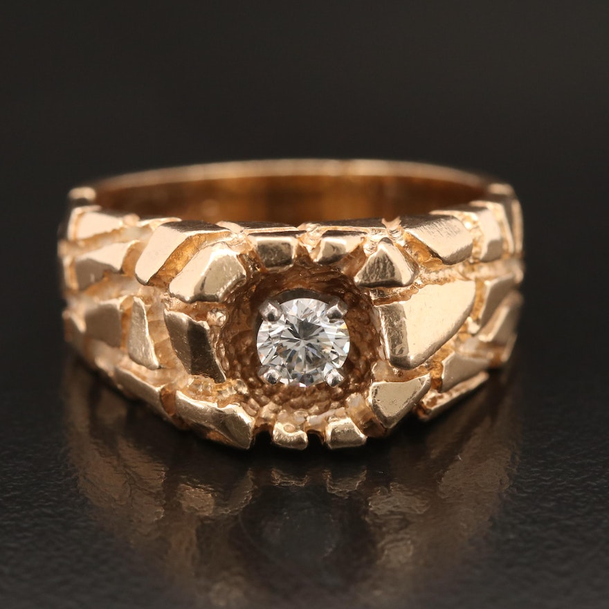 14K Diamond Ring with Nugget Detail