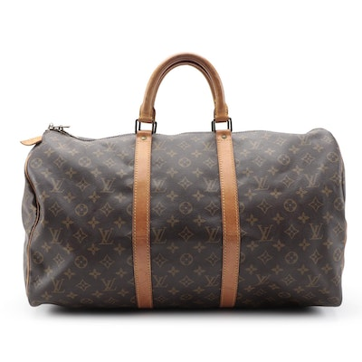 Louis Vuitton Keepall 50 Duffel Bag in Monogram Canvas and Vachetta Leather