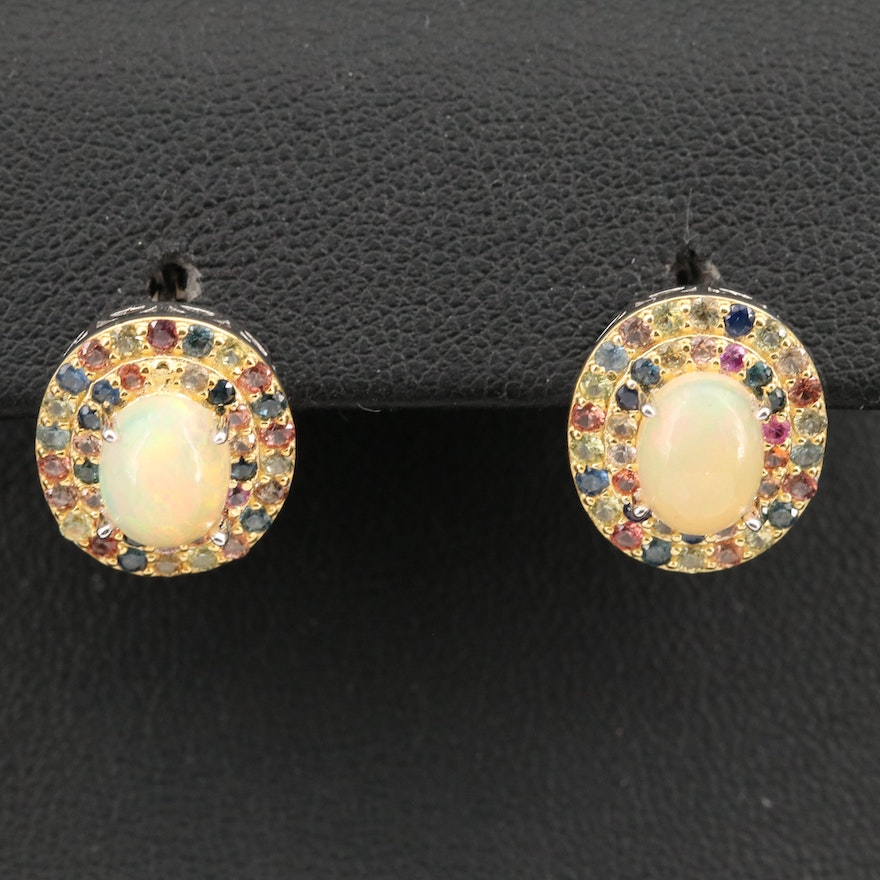 Sterling Opal and Double Halo Sapphire Earrings