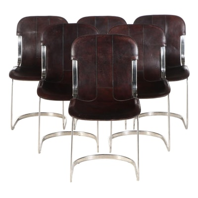 Six Modernist Style Polished Aluminum and Saddle Leather Sleigh Base Chairs