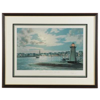 "John Stobart Offset Lithograph ""Edgartown Harbor Under a Full Moon"""