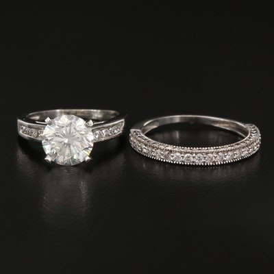 Platinum 2.02 CT Diamond Cathedral Ring with GIA Online Report and 14K Band