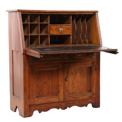Late Victorian Oak Drop-Front Desk, Early 20th Century
