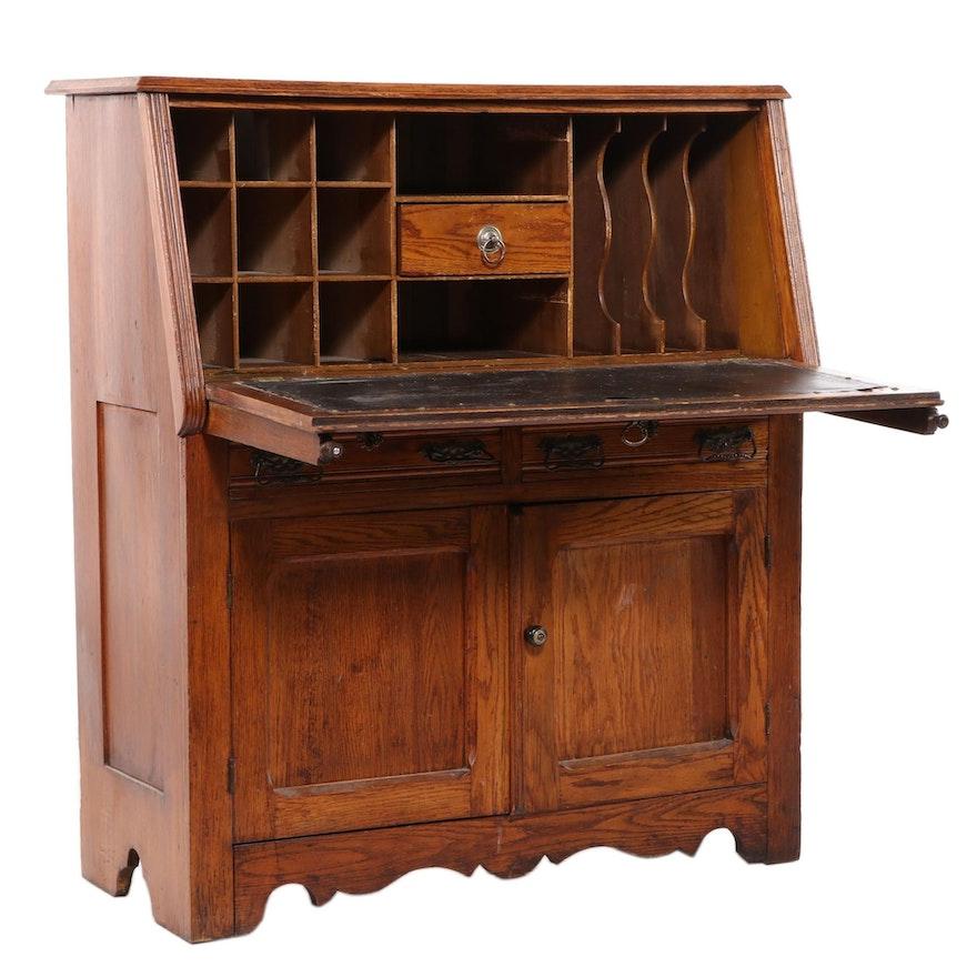 Late Victorian Oak Drop-Front Desk, Early 20th Century