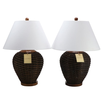 Ralph Lauren Woven Wicker Table Lamps, Pair