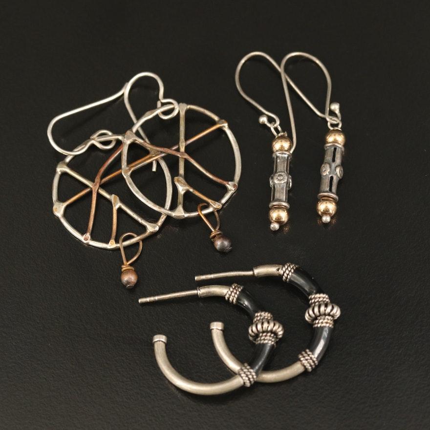 Sterling Black Onyx Hoop, Bar and Openwork Dangle Earrings