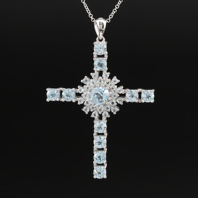 Sterling Topaz Cross Pendant on Italian Chain Necklace