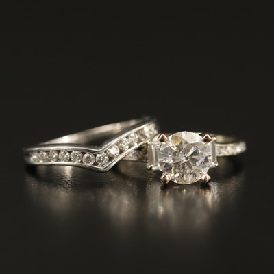 18K 2.08 CTW Diamond Cathedral Ring with 10K Diamond Contour Band