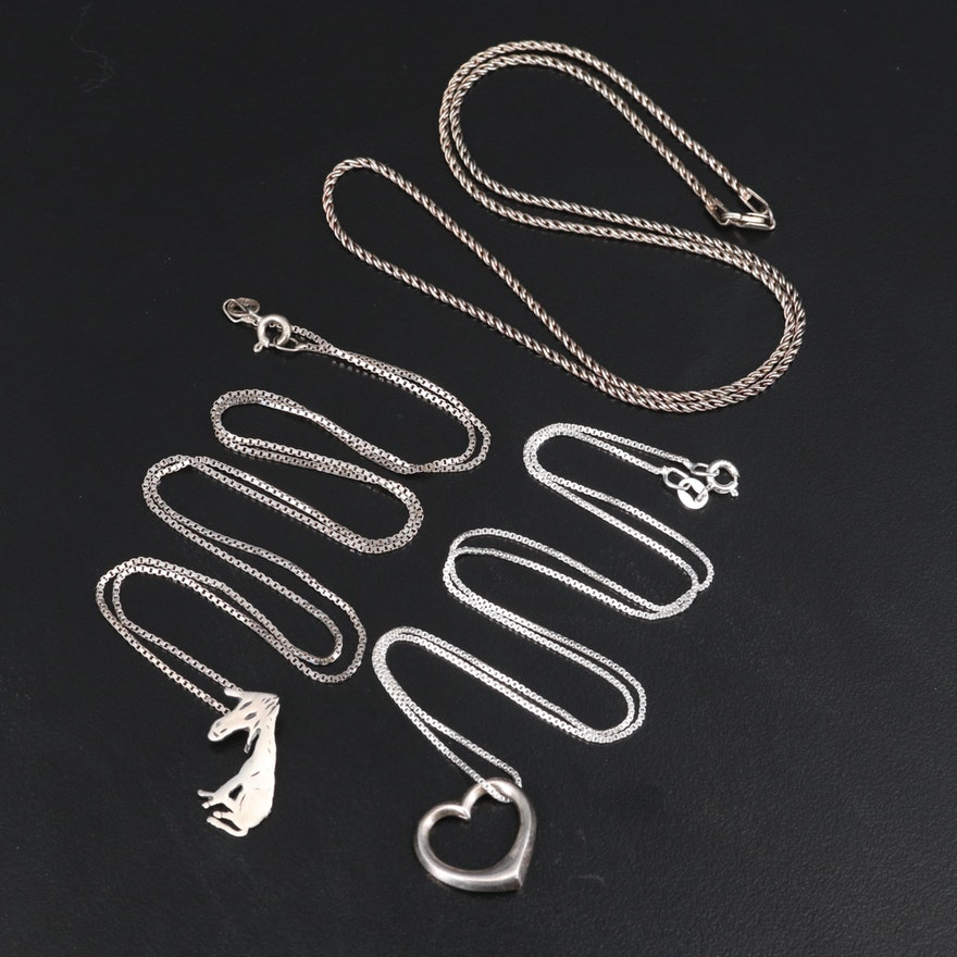 Sterling Necklaces Including Heart and Donkey Pendants