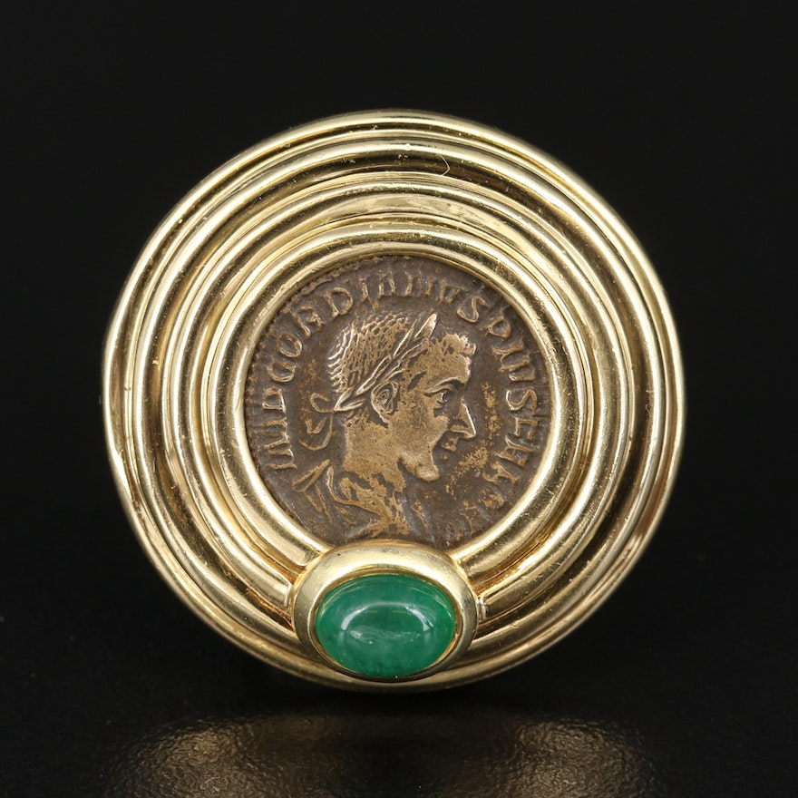 18K 1.22 CT Emerald Pendant with Ancient Roman Imperial Bronze Coin
