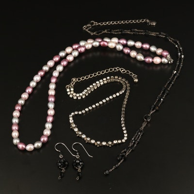 Pearl Strand Necklace with Sterling Clasp with Art Glass Necklaces and Earrings