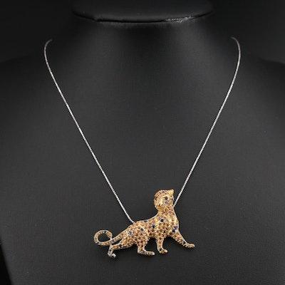 Sterling Pavé Sapphire Feline Pendant Necklace