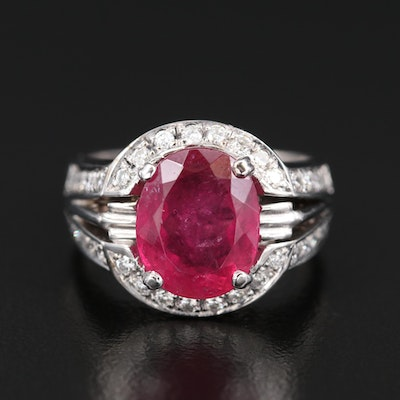 14K 4.50 CT Tourmaline and Diamond Ring