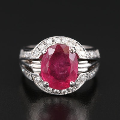 14K 4.50 CT Tourmaline and Diamond Ring