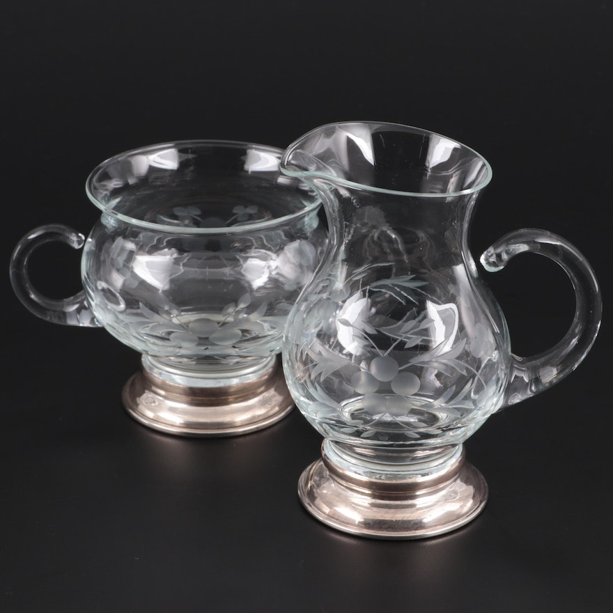 Etched Glass Creamer and Sugar Bowl with Sterling Silver Rimmed Bases