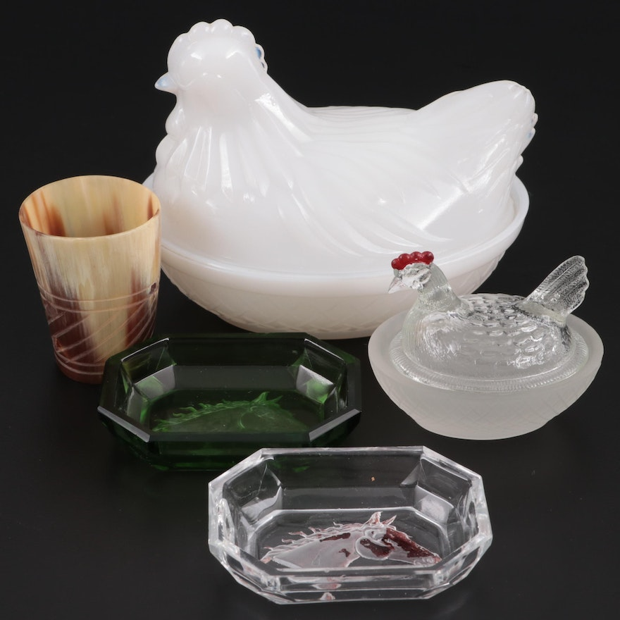 Milk Glass Nested Hen Covered Bowl with Salt Cellars and Carved Horn Shot Glass