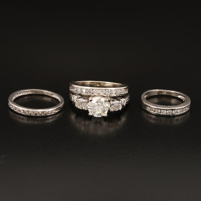 Platinum 1.85 CTW Diamond Three Stone Ring and Channel Bands with 14K Band