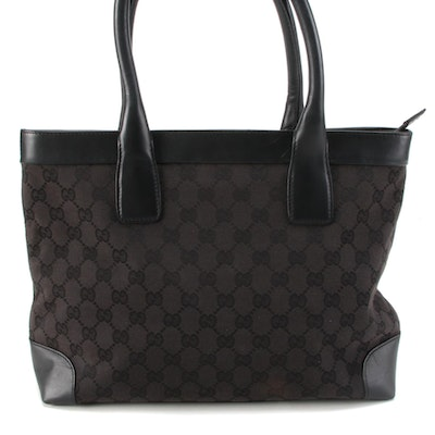 Gucci Medium Tote in Black GG Canvas with Leather Trim