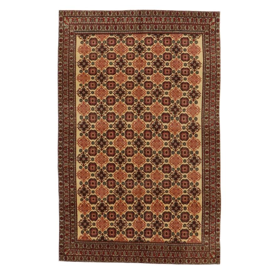6'2 x 9'8 Hand-Knotted Turkish Kazak Rug, 1950s