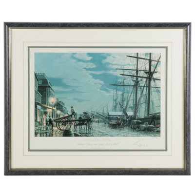 "John Stobart Offset Lithograph ""Delaware Avenue Near Spruce Street in 1840"""