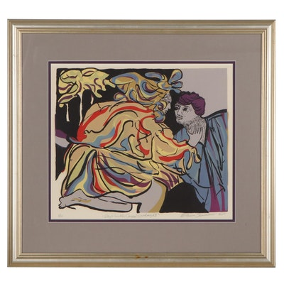 "Melissa Sammano Serigraph ""Day's Gentle Caress Goodnight,"" Late 20th Century"