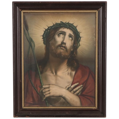 Hand-Colored Lithograph of Jesus with Crown of Thorns, Late 19th Century