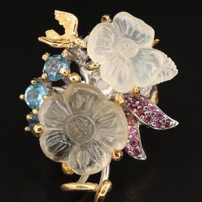 Sterling Resin, Topaz, and Garnet Flower and Bird Ring