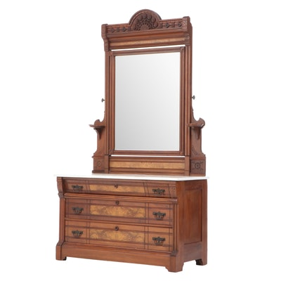 American Aesthetic Movement Walnut, Burl Walnut, and White Marble Dresser