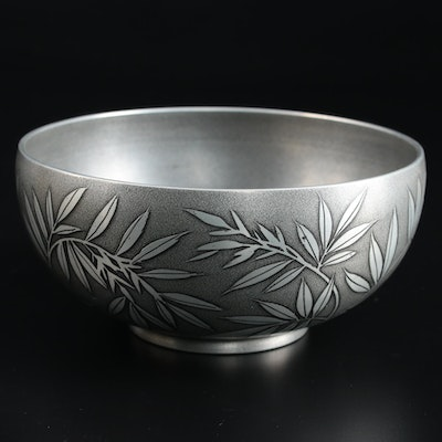 Japanese Pewter Bamboo Leaf Embellished Bowl with Presentation Box
